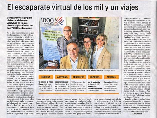 Entrevista 1000tentaciones.com aHeraldo de Aragón